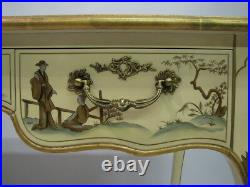 Baker Furniture Cream Lacquer Chinoiserie Style Writing Desk Leather Top CE