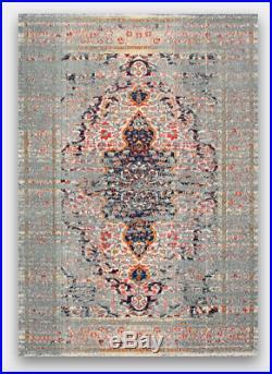 Bohemian Boho Anthropologie Style Multi Color Gray Blue Vintage Medallion Rug
