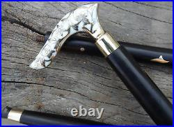 Brass Walking Wooden Stick Cane Victorian Head Handle Vintage Style Handle Gift