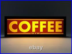 COFFEE Vintage Style LED Light Box Signs USB powered Ash Wood (III)