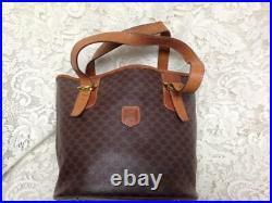 Celine, Paris, Italy Brown Macadam Bucket Style Handbag 12.5in x 9.5in x 5in