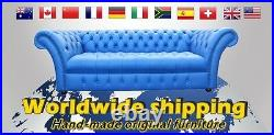 Chesterfield 4 Seater Antique Blue Leather Sofa Settee 3 Cushion Style