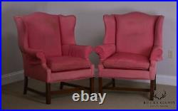 Chippendale Style Vintage 1940's Mahogany Pair Wing Chairs