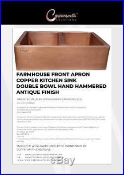 Double Bowl Hammered Copper Kitchen Sink Antique Belfast Farmhouse Butler Style