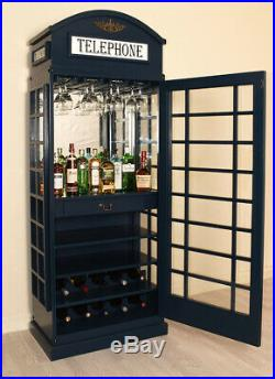 Drinks Cabinet Iconic BT Telephone Box Style Bar in Haigh Blue