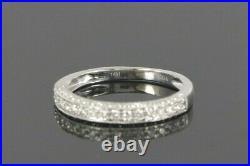 EMA 14K White Gold Round Diamond Vintage Style Milgrain Wedding Band Size 6.75