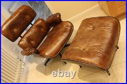 Eames style armchair ottoman chair swivel brown antiqued cigar leather