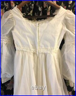 Edwardian Revival Gunne Sax STYLE Unlabeled Dress 60s 70s Vintage Metal Zipper