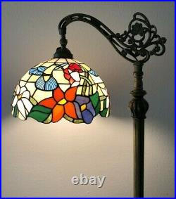 Enjoy Tiffany Style Floor Lamp Hummingbird Stained Glass Antique Vintage H62.5