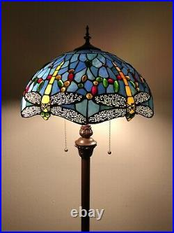 Enjoy Tiffany Style Floor Lamp Sky Blue Stained Glass Dragonfly Antique 64H16W