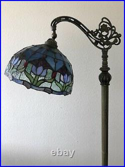 Enjoy Tiffany Style Floor Lamp Tulip Flower Stained Glass Antique Vintage H62.5
