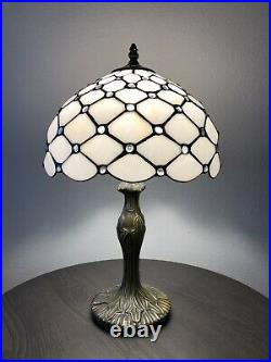 Enjoy Tiffany Style Table Lamp Crystal Bean White Stained Glass Antique Vintage