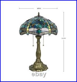 Enjoy Tiffany Style Table Lamp Dragonfly Green Blue Stained Glass Vintage 24H