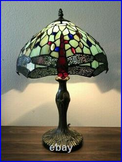 Enjoy Tiffany Style Table Lamp Jade Green Stained Glass Dragonfly Vintage H19W12