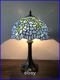 Enjoy Tiffany Style Table Lamp Stained Glass Flower Antique Vintage W12H19