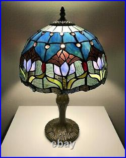 Enjoy Tiffany Style Table Lamp Stained Glass Tulips Flower Antique Vintage 19H