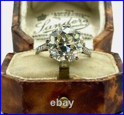 Estate Vintage Style Art Deco Ring 3 Ct Round Diamond 14k White Gold FN 925