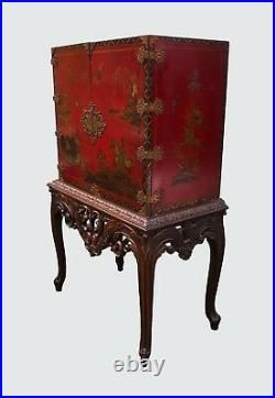 Exceptional Chinoiserie Antique Style Desk On Carved Frame Secretary Desk