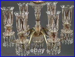 Exquisite Vintage Crystal Bronze Baccarat Style Chandelier Medallion Lustre