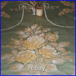Exquisite Vintage French Silk Brocade Jacquard Fabric 18thc style Green Gold