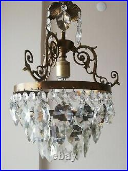 French Basket Style Vintage Brass & Crystals Chandelier Antique Lamp 213-10