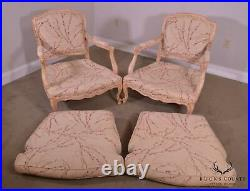 French Louis XV Style Vintage Pair Bergere Lounge Chairs with Ottoman
