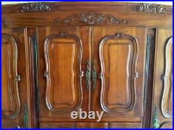 French Provincial Antique Styled Armoire Double Wardrobe & Cabinet Dresser