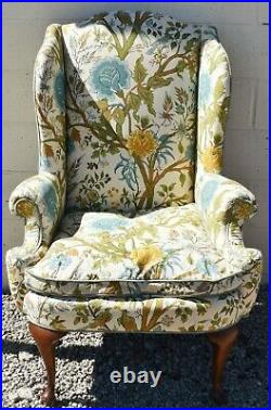 Henredon Mahogany Wing Chair Arm Chair Queen Anne Style Florial Fabric