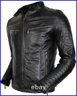 Herren Bikerjacke aus echtem Leder gesteppte Schultern Vintage Style, Steppjacke