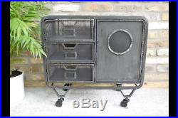 Industrial 1 Door Metal Cabinet 3 Draw Retro Vintage style Storage Furniture
