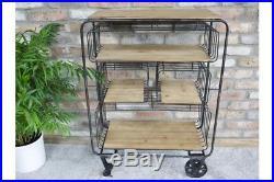 Industrial Factory Style Metal Open Shelf Storage Trolley Style Office Unit