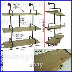 Industrial Urban Style Galvanised Steel Pipe Book Shelf Storage Wooden, NEW BS-13