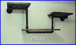 Industrial Urban Style Galvanised Steel Pipe Book Shelf Wooden Shelving NEW BS06