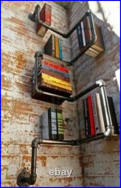 Industrial Urban Style Galvanised Steel Pipe Shelf Storage Shelving Book NEW