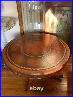 Inlaid Leather Round Drum Coffee Table 32 Wide 19 Tall Duncan Phyfe Style RARE