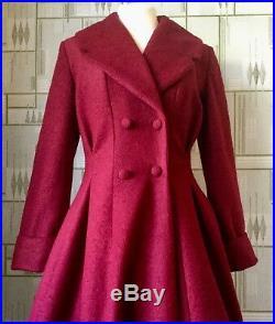 LADIES TAILORED 1940s/50s VINTAGE Swing Style WINTER COAT in Burgundy 8 24
