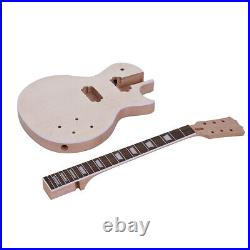 LP Style Unfinished Electric Guitar DIY Kits Mahogany Body 6 String 3-Way Switch