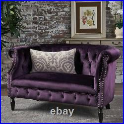 LUXURY Purple Velvet Chesterfield Tufted Loveseat Sofa Scroll Arm Antique Style