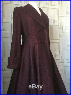 Ladies Tailored 1940s/50s Vintage Swing Style Winter Coat in RED Fleck