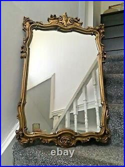 Large Vintage French Rococo Style Gilded Ornate Gold Wall Dressing Mirror 60's