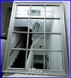 Large Window Mirror Silver Antique Style 130x95cm Rectangular Shabby Chic