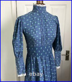 Laura Ashley Vintage Dress Size Fits 8 Blue Made in Wales Edwardian Style 1970s