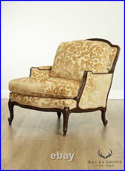 Lewis Mittman French Louis XV Style Custom Upholstered Pair Bergeres Chairs B