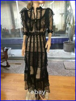 Lim's Vintage Victorian Style All Hand Crochet Maxi Dress, Black One Size S to M