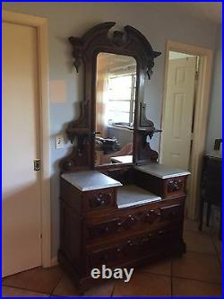 Magnificent 19th Century Eastlake Style Dresser, solid mahogany, marble