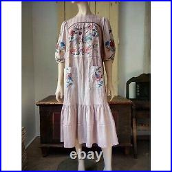 Magnolia Pearl style Johnny Was Hand Embroidery Cotton Voile Boho Prairie DRESS