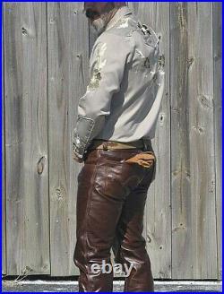 Men's Real Leather Levi's 501 Style Bikers Pants Vintage / Antique Cowhide Pants