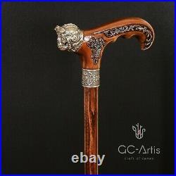 Metal walking stick cane bronze Pilot Skull brass wooden handle Air force style