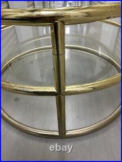 Mid Century Modern 3 Tier Tubular Swivel Glass Top Table Milo Baughman Style MCM