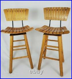 Mid-Century Modern Slat Wood Swivel Bar Stool Chair Arthur Umanoff Style Vintage